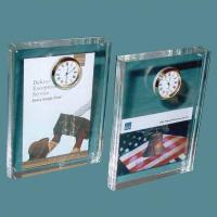 Buy cheap Acrylic Counter Displays Acrylic block with clock from wholesalers