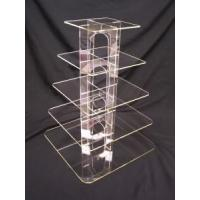Quality Acrylic Counter Displays 5 Tier square clear acrylic cup cake candy pastry display for sale