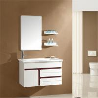 China Model:2012 hot sale hanging solid wood bathroom mirror cabinet with single basin FL004 on sale