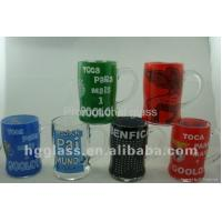 Quality printed glass cup&mug 380ml clear beer stein glass mug with bell for sale