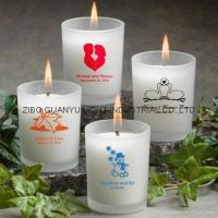Glass Candle Holders frosted glass candle holder with decal
