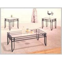 Buy cheap Living Room 3640BS METAL 3-PCS SET,8mm GLASS TOP SANDY BLACK FINISHED from wholesalers