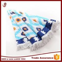 Quality 100% cotton custom round beach towel with fringes for sale