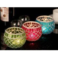 Best Wedding Multi-color crackle glass votive candle holder wholesale