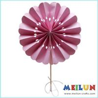 Quality PAPER CRAFT Round pink paper hand fan for sale