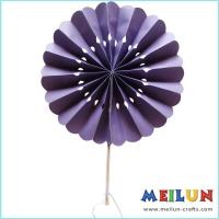 Quality PAPER CRAFT Round purple paper hand fan for sale