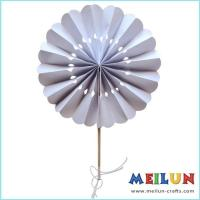 Quality PAPER CRAFT Round white paper hand fan for sale