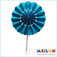 Quality PAPER CRAFT Round turquoise paper hand fan for sale