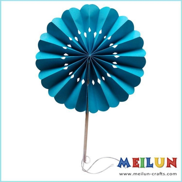 Buy PAPER CRAFT Round turquoise paper hand fan at wholesale prices