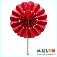 Quality PAPER CRAFT Round red paper hand fan for sale
