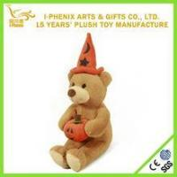 Buy cheap Made in China cute bear plush Halloween toy stuffed bear with a pumpkin custom plush Halloween toy from wholesalers