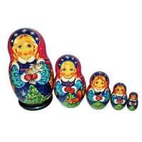 China Snowmaiden with the Winter Bunny and Christmas Tree Nesting Dolls on sale