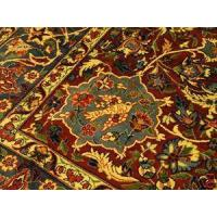 China Persian Qum Ghom Maroon Gold blue rug handwoven 8x-12-6 on sale