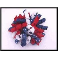 China American Flag Large Korker Hair Bow on sale