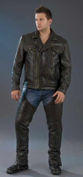 Men Leather Biker Jacket Strong Style Color B Leather Strong Apparel And