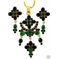 China NATURAL EMERALD OVEL SAPPHIRE PENDANT SET on sale