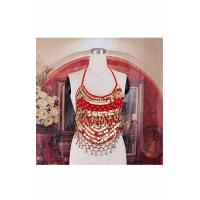 China Red Belly Dance Bra With Sequins Beads H2644 on sale