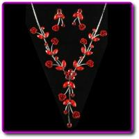 Best Ruby Red Austrian Crystal Necklace & Earring Set wholesale