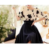 China Royal Vintage Lady Flowers Printed Bow-Tie Empire Waist Two-Piece Dresses on sale