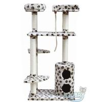 China White Deluxe Leopard Cat Scratcher Tree Condo on sale