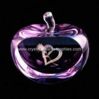 China Stained crystal apple paperweights on sale