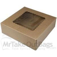 China 8 x 8 x 2.5 Premium Semi-Automatic Brown Kraft Bakery / Pie Boxes with Window (250 / case) on sale
