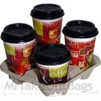 China Molded Fiber 4 Cup Carrier Trays - 8.25 x 8.25 x 1.63 (300 / case) on sale