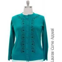Quality Womens Teal Cardigan Sweater PLUS SIZE 2X 18/20 Button Down Vine Floral Print for sale