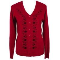 Quality Womens Red Floral Vine Sweater Cardigan Top Size SMALL 6/8 Jon Anna NY Clothing for sale
