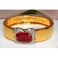 Best J959-Beautiful Gold Bracelet with Ruby Red Center Stone Surrounded By Rhinestones wholesale