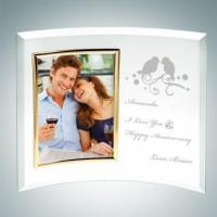 China Seasonal Specials 3 x 5 Curved Vertical Gold Engraved Jade Glass Picture Frames on sale