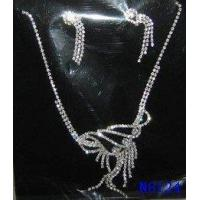 Best Custom Tin Alloy Fashion Stone Jewelry Crystal Necklace and Earring Set for Party OEM wholesale