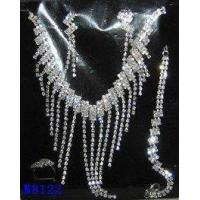 Silver Plated Costume Jewelry Crystal Charm Necklace and Earring Set for Wedding