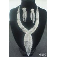 Buy cheap Brass Fashion Diamond Jewelry Crystal Necklace and Earring Set Designs for Gift from wholesalers