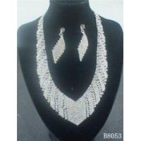 Buy cheap American Standard Diamond Crystal Necklace and Earring Set Designs with Silver Plated from wholesalers