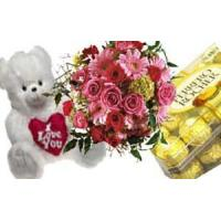 Quality COMBO 6 - Bouquet of Flowers, Box of chocolates and Stuffed Toy for sale