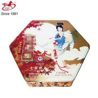 Fashion hexagon metal mooncake tin box with chinese traditional pattern