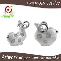 White with Silver and Gloden Polyresin Sheep Figurines for Home Decorations