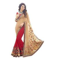 Quality georgette red cream colour zari embroidery work with lace border saree for sale