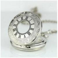Quality Alloy Skeleton Movement Silver Pocket Watches For Mens , Mans Pocket Watch for sale