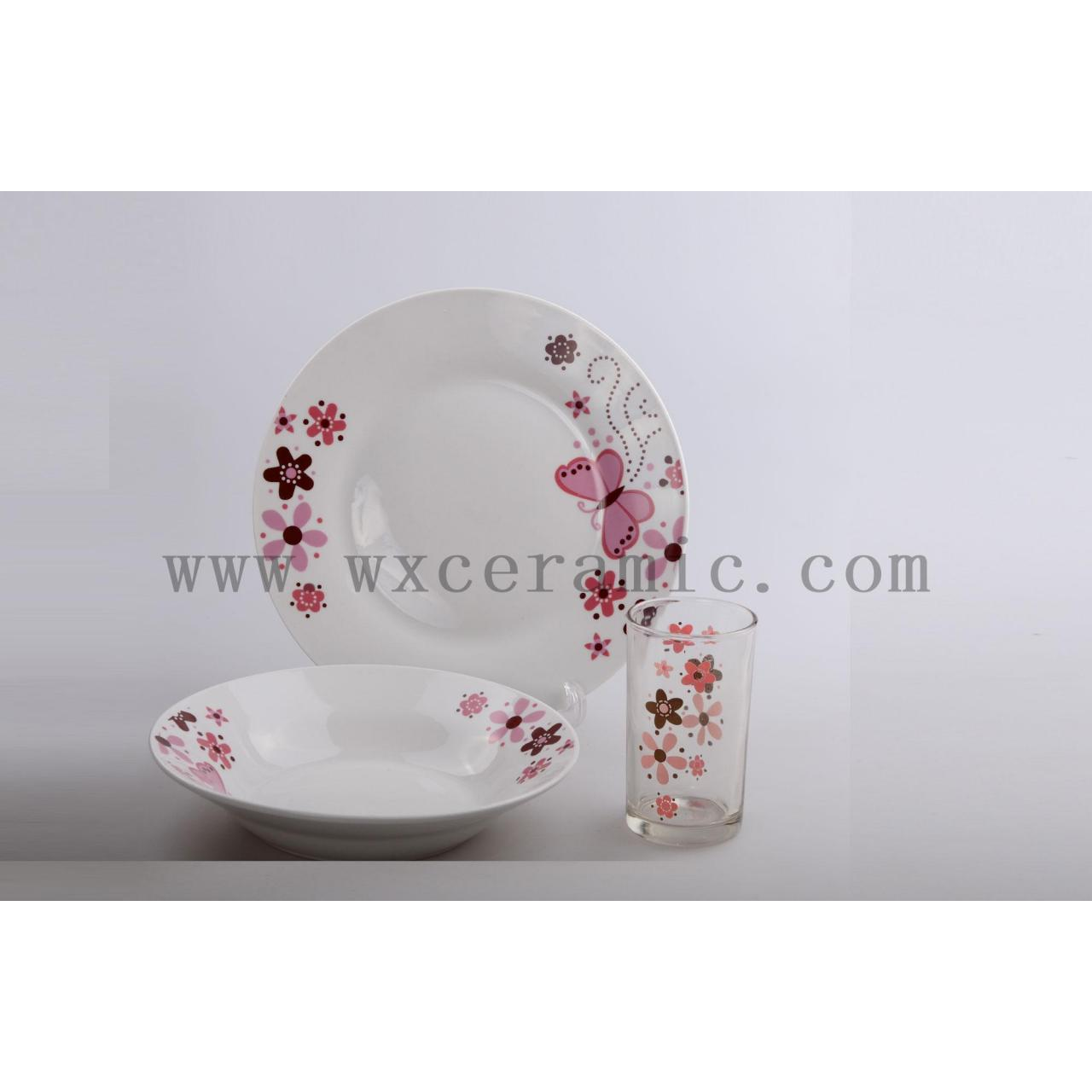 China dinner set porcelain ware, round ceramic table ware,12pc tableware on sale