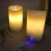 Quality Real Wax Fountain Waterdance Timing Charging LED Pillar Candles for sale