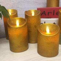 Quality Paraffin Wax Pillar Led Light Crack Moving Flame Candles for sale