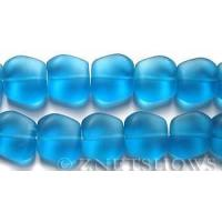 China Cultured Sea Glass square nugget Beads 18x17mm 30-Pacific Blue (11-pc-strand) per 8-in-str on sale