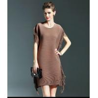 Quality Tiered Mesh Crew Neck Sexy Tassel Party Dress With Side Fringe Design for sale