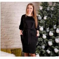 Buy cheap YY-PL907 pure color round neck plus size dress fat woman from wholesalers