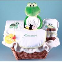 Quality Personalized Baby Gifts Friendly Frog Personalized Baby Gift Basket for sale