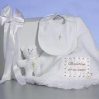 Quality Personalized Baby Gifts Christening Baby Blanket Personalized Gift Set for sale