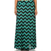 Quality Maxi Skirt - GREEN CHEVRON for sale