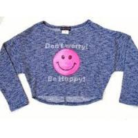 China Lori & Jane Tween Blue Knit Cropped Sweater Top w/Smiley Face 7 8 on sale
